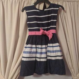 Carter's Navy color block stripe dress 6. EUC!